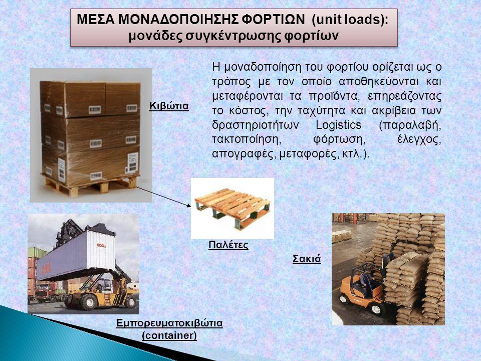 ΜΕΣΑ ΜΟΝΑΔΟΠΟΙΗΣΗΣ ΦΟΡΤΙΩΝ (unit loads): μονάδες συγκέντρωσης φορτίων ΜΕΣΑ ΜΟΝΑΔΟΠΟΙΗΣΗΣ ΦΟΡΤΙΩΝ (unit loads): μονάδες συγκέντρωσης φορτίων Παλέτες Εμπορευματοκιβώτια (container) Σακιά Κιβώτια Η μοναδοποίηση του φορτίου ορίζεται ως ο τρόπος με τον οποίο αποθηκεύονται και μεταφέρονται τα προϊόντα, επηρεάζοντας το κόστος, την ταχύτητα και ακρίβεια των δραστηριοτήτων Logistics (παραλαβή, τακτοποίηση, φόρτωση, έλεγχος, απογραφές, μεταφορές, κτλ.).
