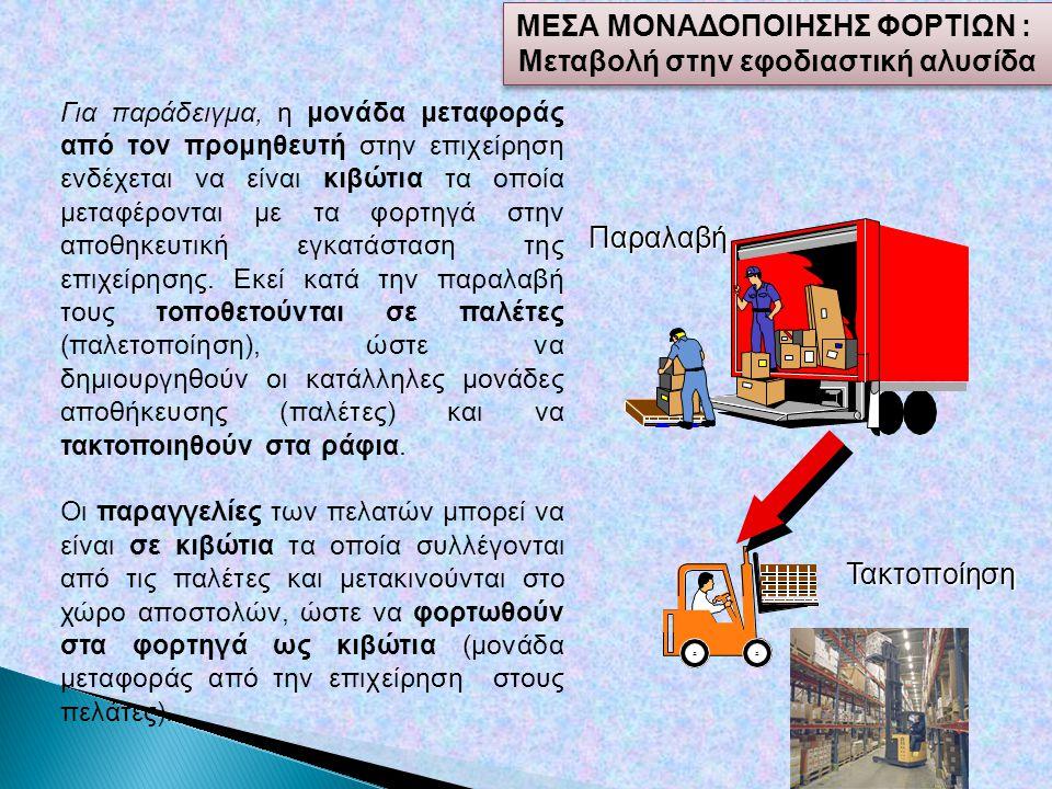 Για παράδειγμα, η μονάδα μεταφοράς από τον προμηθευτή στην επιχείρηση ενδέχεται να είναι κιβώτια τα οποία μεταφέρονται με τα φορτηγά στην αποθηκευτική εγκατάσταση της επιχείρησης.