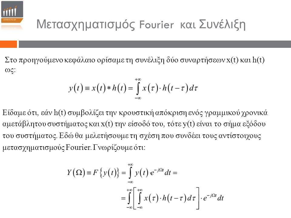 Μετασχηματισμός Fourier και Συνέλιξη Στο προηγούμενο κεφάλαιο ορίσαμε τη συνέλιξη δύο συναρτήσεων x(t) και h(t) ως: Είδαμε ότι, εάν h(t) συμβολίζει τη