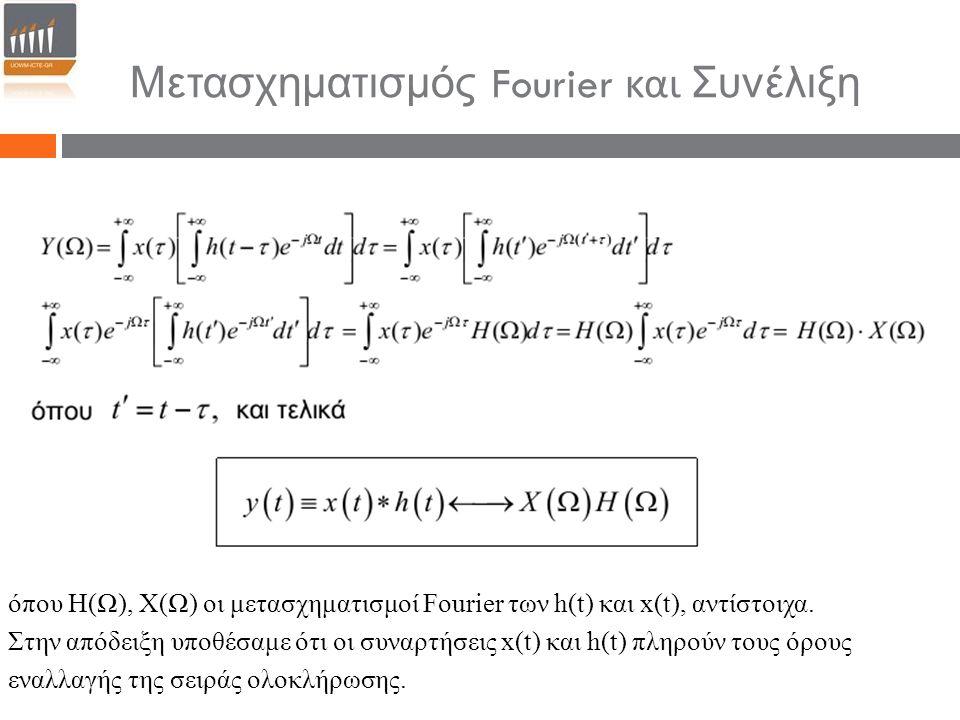 Μετασχηματισμός Fourier και Συνέλιξη όπου Η(Ω), Χ(Ω) οι μετασχηματισμοί Fourier των h(t) και x(t), αντίστοιχα. Στην απόδειξη υποθέσαμε ότι οι συναρτήσ
