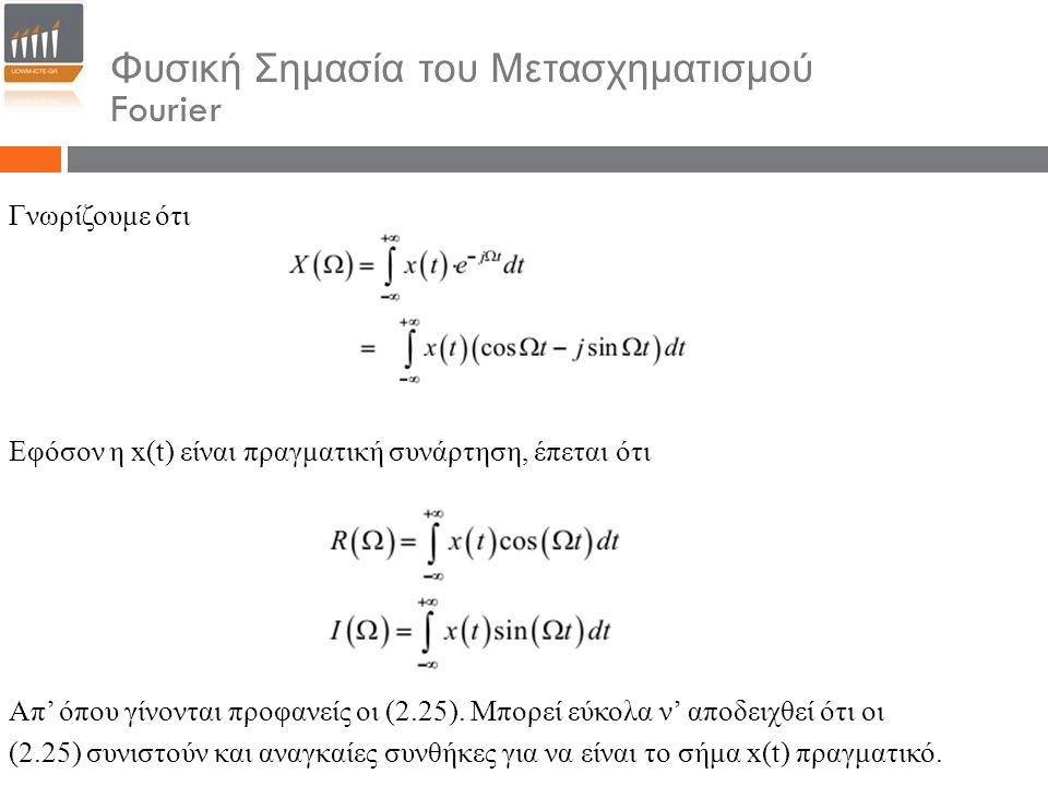 Φυσική Σημασία του Μετασχηματισμού Fourier Γνωρίζουμε ότι Εφόσον η x(t) είναι πραγματική συνάρτηση, έπεται ότι Απ' όπου γίνονται προφανείς οι (2.25).