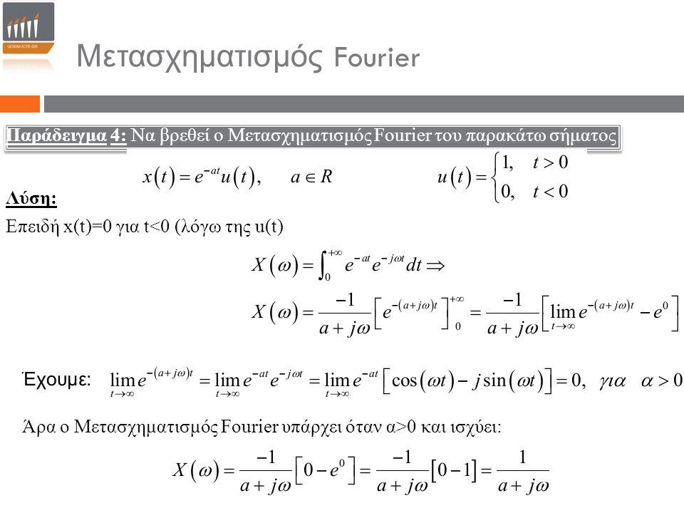 Μετασχηματισμός Fourier Παράδειγμα 4: Να βρεθεί ο Μετασχηματισμός Fourier του παρακάτω σήματος Επειδή x(t)=0 για t<0 (λόγω της u(t) Άρα ο Μετασχηματισ