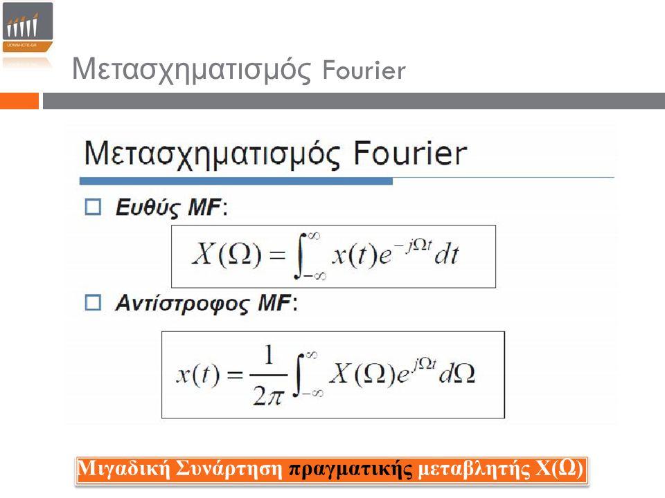 Παράδειγμα 1 : Να υπολογιστεί ο μετασχηματισμός Fourier ενός τετραγωνικού παλμού Λύση : Από τον ορισμό του μετασχηματισμού Fourier έχουμε: Η συνάρτηση Sα(x) είναι γνωστή ως συνάρτηση δειγματοληψίας