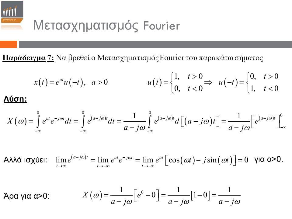 Μετασχηματισμός Fourier Παράδειγμα 7: Να βρεθεί ο Μετασχηματισμός Fourier του παρακάτω σήματος