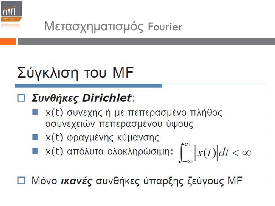 Μετασχηματισμός Fourier Συνέλιξη Ανάλογη σχέση ισχύει και για τη συνέλιξη των μετασχηματισμών Fourier.