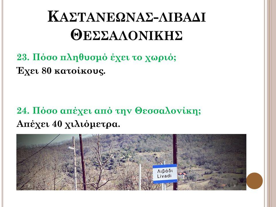 Κ ΑΣΤΑΝΕΩΝΑΣ - ΛΙΒΑΔΙ Θ ΕΣΣΑΛΟΝΙΚΗΣ 23. Πόσο πληθυσμό έχει το χωριό; Έχει 80 κατοίκους. 24. Πόσο απέχει από την Θεσσαλονίκη; Απέχει 40 χιλιόμετρα.