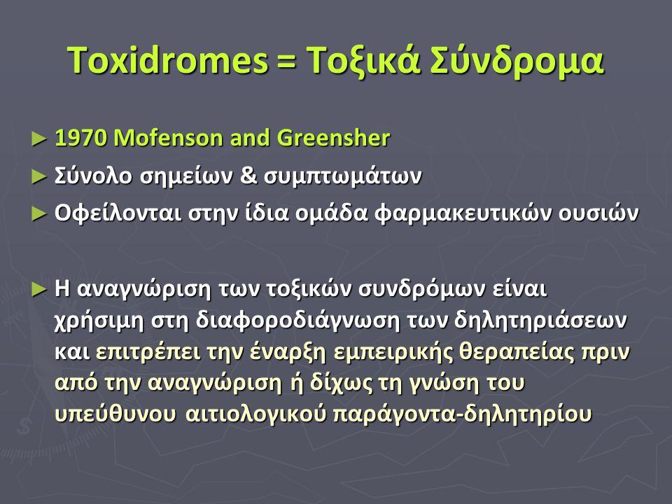 Toxidromes = Τοξικά Σύνδρομα ► 1970 Mofenson and Greensher ► Σύνολο σημείων & συμπτωμάτων ► Οφείλονται στην ίδια ομάδα φαρμακευτικών ουσιών ► Η αναγνώ