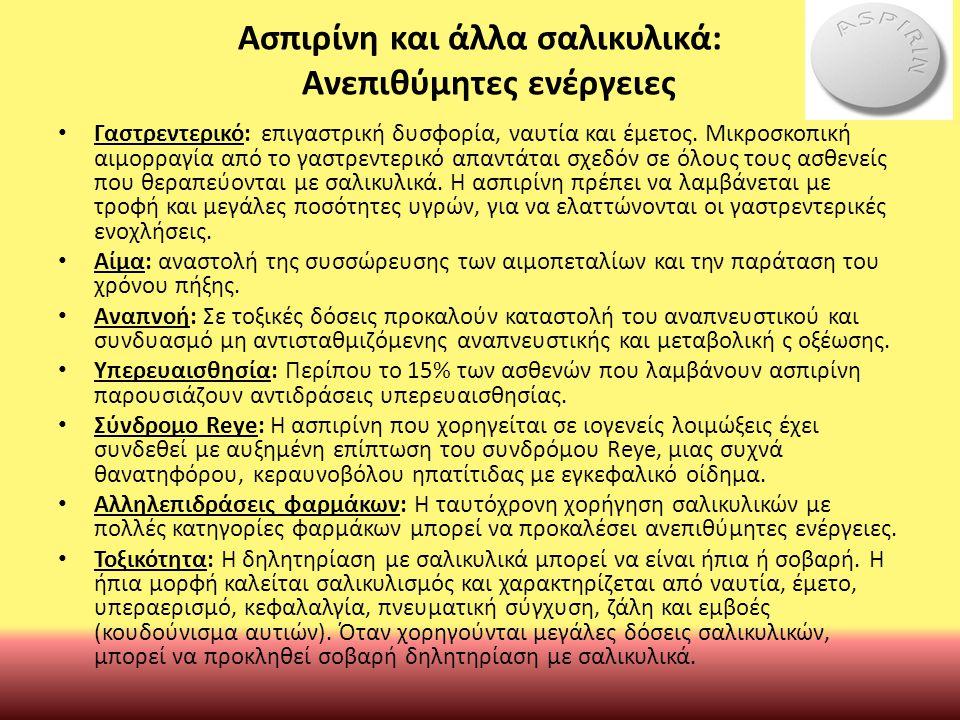 Ασπιρίνη και άλλα σαλικυλικά: Ανεπιθύμητες ενέργειες Γαστρεντερικό: επιγαστρική δυσφορία, ναυτία και έμετος.