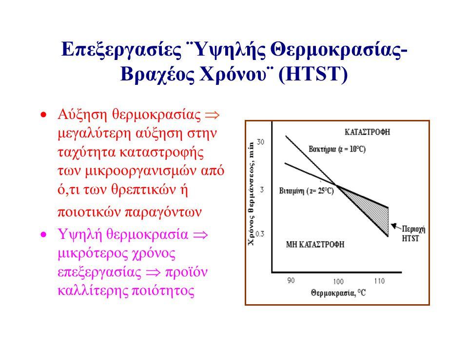 Επεξεργασίες ¨Υψηλής Θερμοκρασίας- Βραχέος Χρόνου¨ (HTST)  Αύξηση θερμοκρασίας  μεγαλύτερη αύξηση στην ταχύτητα καταστροφής των μικροοργανισμών από ό,τι των θρεπτικών ή  ποιοτικών παραγόντων  Υψηλή θερμοκρασία  μικρότερος χρόνος επεξεργασίας  προϊόν καλλίτερης ποιότητος