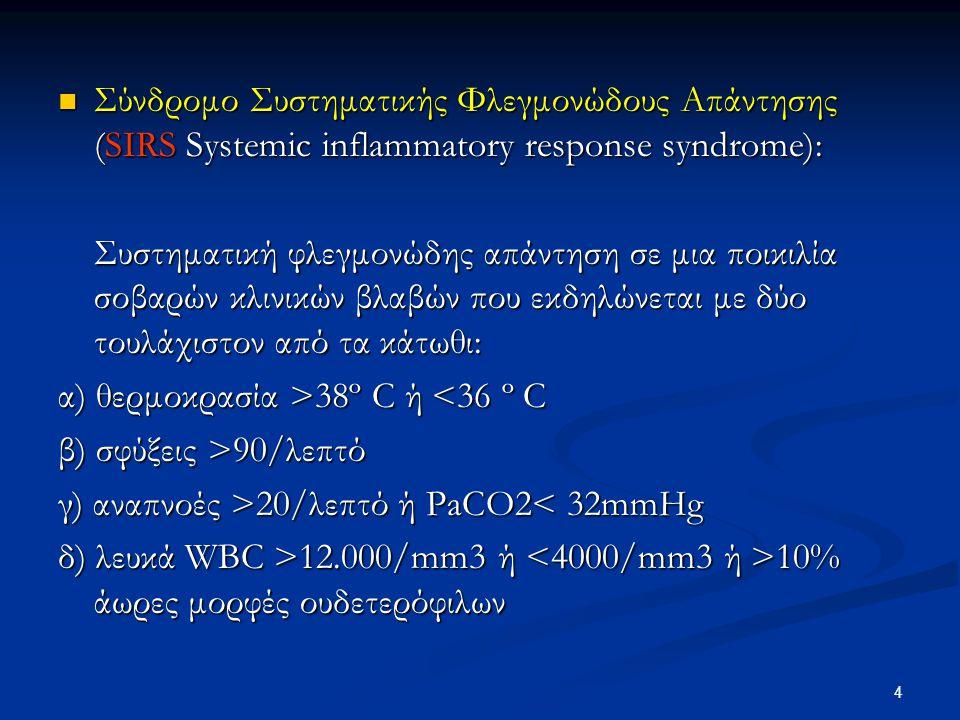 Σύνδρομο Συστηματικής Φλεγμονώδους Απάντησης (SIRS Systemic inflammatory response syndrome): Σύνδρομο Συστηματικής Φλεγμονώδους Απάντησης (SIRS System