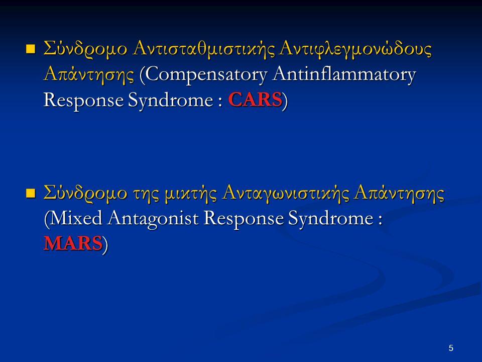 Σύνδρομο Αντισταθμιστικής Αντιφλεγμονώδους Απάντησης (Compensatory Antinflammatory Response Syndrome : CARS) Σύνδρομο Αντισταθμιστικής Αντιφλεγμονώδου