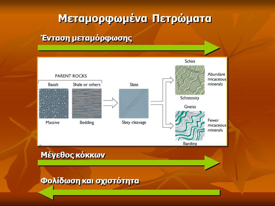 Μεταμορφωμένα Πετρώματα Ένταση μεταμόρφωσης Μέγεθος κόκκων Φολίδωση και σχιστότητα