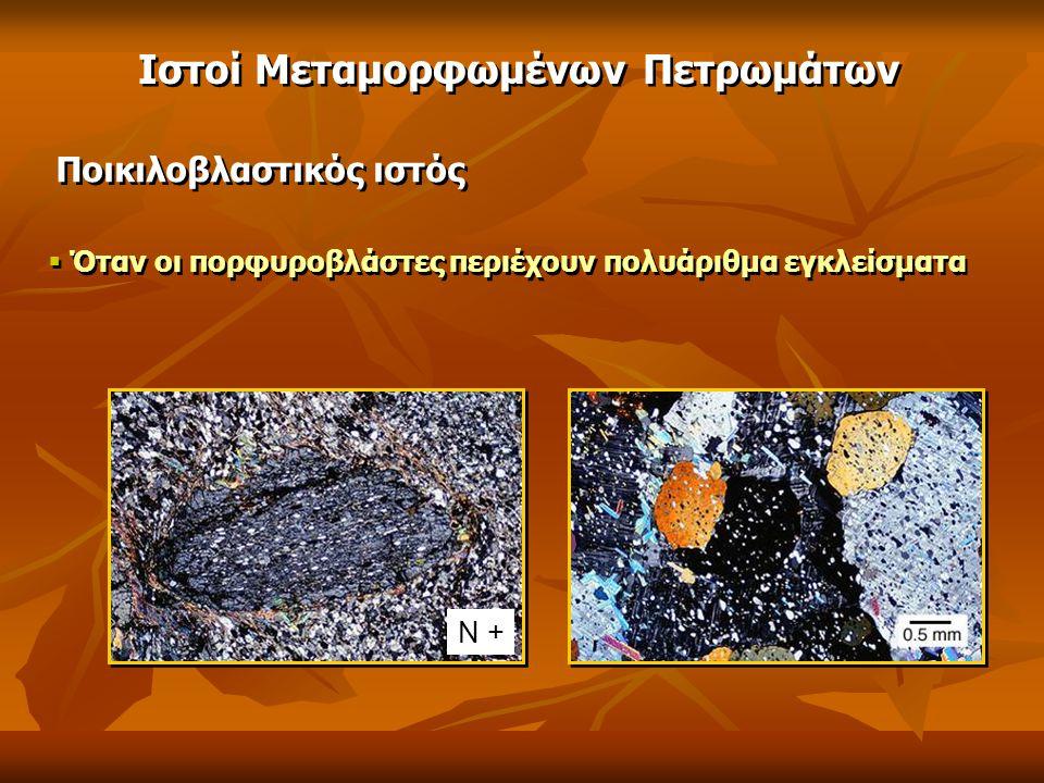 Ποικιλοβλαστικός ιστός  Όταν οι πορφυροβλάστες περιέχουν πολυάριθμα εγκλείσματα Ιστοί Μεταμορφωμένων Πετρωμάτων Ν +