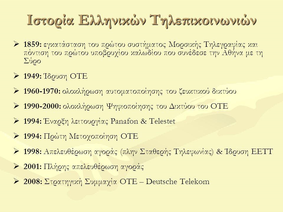 Ιστορία Ελληνικών Τηλεπικοινωνιών   1859: εγκατάσταση του πρώτου συστήματος Μορσικής Τηλεγραφίας και πόντιση του πρώτου υποβρυχίου καλωδίου που συνέδεσε την Αθήνα με τη Σύρο   1949: Ίδρυση ΟΤΕ   1960-1970: ολοκλήρωση αυτοματοποίησης του ζευκτικού δικτύου   1990-2000: ολοκλήρωση Ψηφιοποίησης του Δικτύου του ΟΤΕ   1994: Έναρξη λειτουργίας Panafon & Telestet   1994: Πρώτη Μετοχοποίηση ΟΤΕ   1998: Απελευθέρωση αγοράς (πλην Σταθερής Τηλεφωνίας) & Ίδρυση ΕΕΤΤ   2001: Πλήρης απελευθέρωση αγοράς   2008: Στρατηγική Συμμαχία ΟΤΕ – Deutsche Telekom