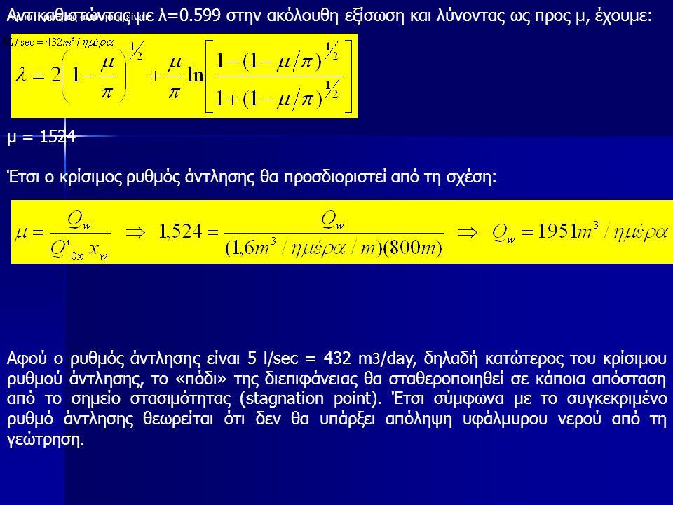 Αντικαθιστώντας με λ=0.599 στην ακόλουθη εξίσωση και λύνοντας ως προς μ, έχουμε: μ = 1524 Έτσι ο κρίσιμος ρυθμός άντλησης θα προσδιοριστεί από τη σχέση: Αφού ο ρυθμός άντλησης είναι Αφού ο ρυθμός άντλησης είναι 5 l/sec = 432 m 3 /day, δηλαδή κατώτερος του κρίσιμου ρυθμού άντλησης, το «πόδι» της διεπιφάνειας θα σταθεροποιηθεί σε κάποια απόσταση από το σημείο στασιμότητας (stagnation point).