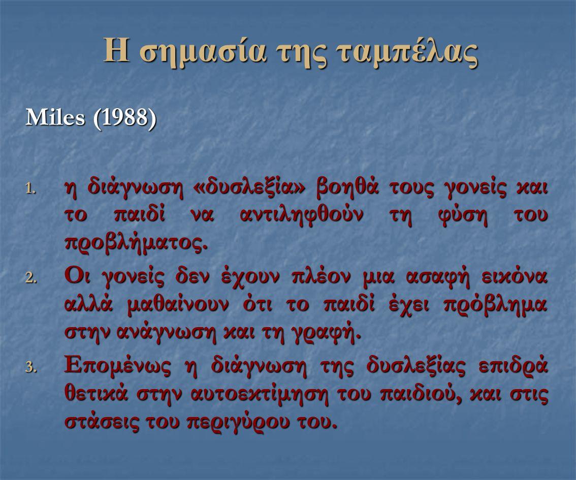 Η σημασία της ταμπέλας Μiles (1988) 1. η διάγνωση «δυσλεξία» βοηθά τους γονείς και το παιδί να αντιληφθούν τη φύση του προβλήματος. 2. Οι γονείς δεν έ
