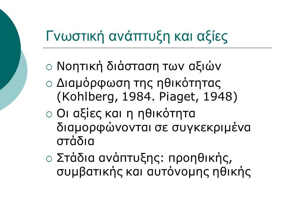 Γνωστική ανάπτυξη και αξίες  Νοητική διάσταση των αξιών  Διαμόρφωση της ηθικότητας (Kohlberg, 1984. Piaget, 1948)  Οι αξίες και η ηθικότητα διαμορφ