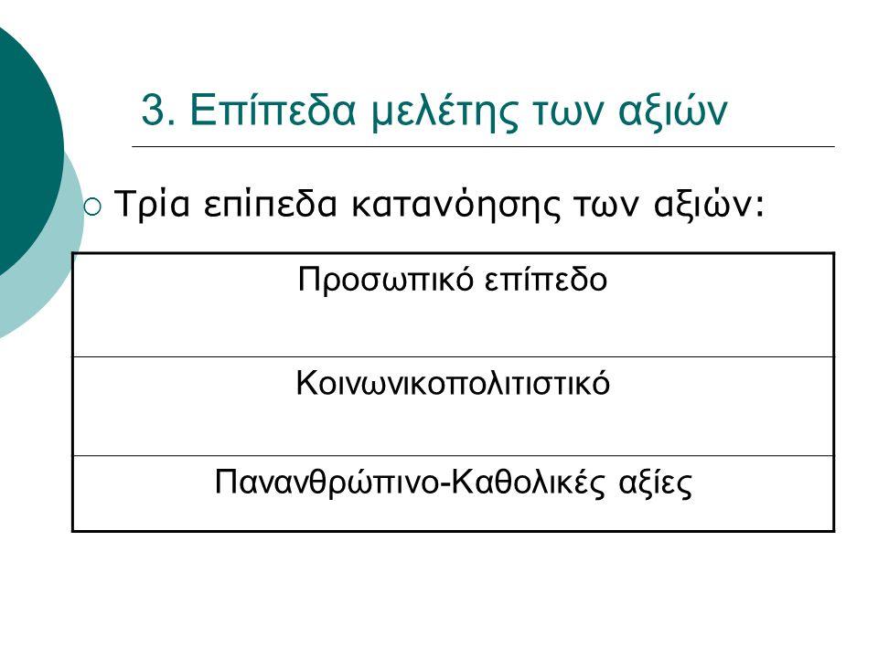 3. Επίπεδα μελέτης των αξιών  Τρία επίπεδα κατανόησης των αξιών: Προσωπικό επίπεδο Κοινωνικοπολιτιστικό Πανανθρώπινο-Καθολικές αξίες