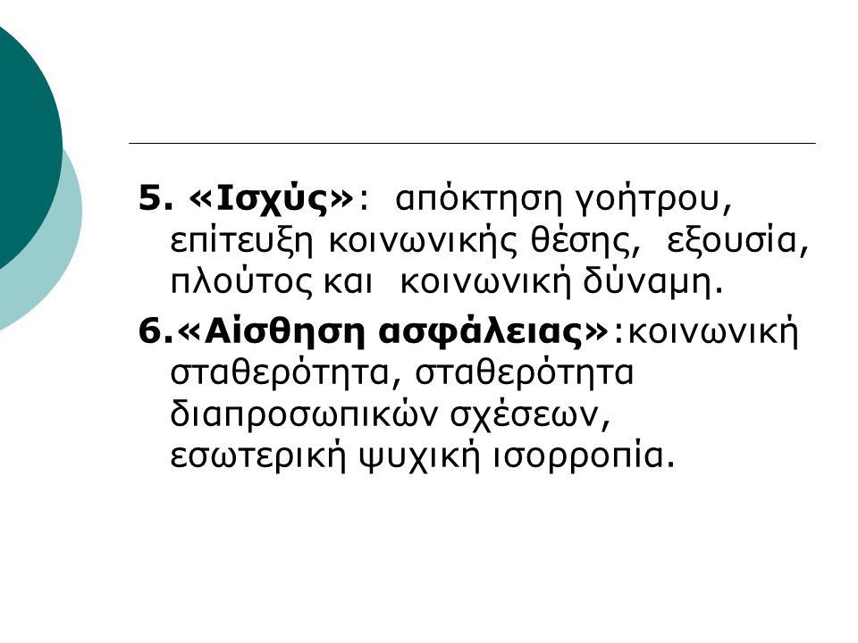 5. «Ισχύς»: απόκτηση γοήτρου, επίτευξη κοινωνικής θέσης, εξουσία, πλούτος και κοινωνική δύναμη. 6.«Αίσθηση ασφάλειας»:κοινωνική σταθερότητα, σταθερότη