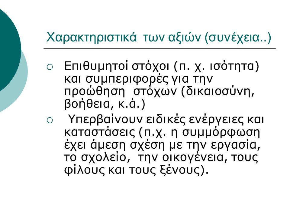 Χαρακτηριστικά των αξιών (συνέχεια..)  Επιθυμητοί στόχοι (π. χ. ισότητα) και συμπεριφορές για την προώθηση στόχων (δικαιοσύνη, βοήθεια, κ.ά.)  Υπερβ