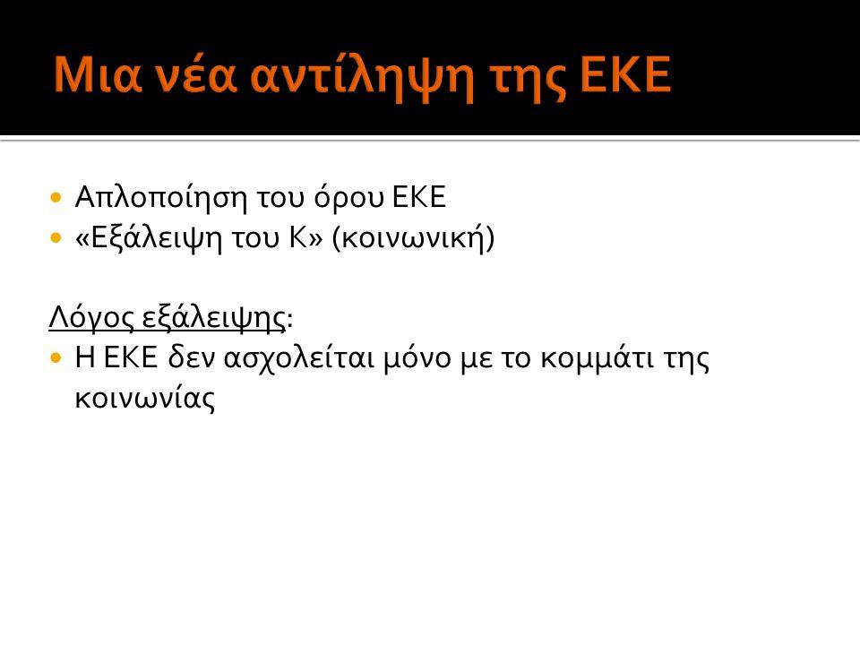 Απλοποίηση του όρου ΕΚΕ «Εξάλειψη του Κ» (κοινωνική) Λόγος εξάλειψης: Η ΕΚΕ δεν ασχολείται μόνο με το κομμάτι της κοινωνίας