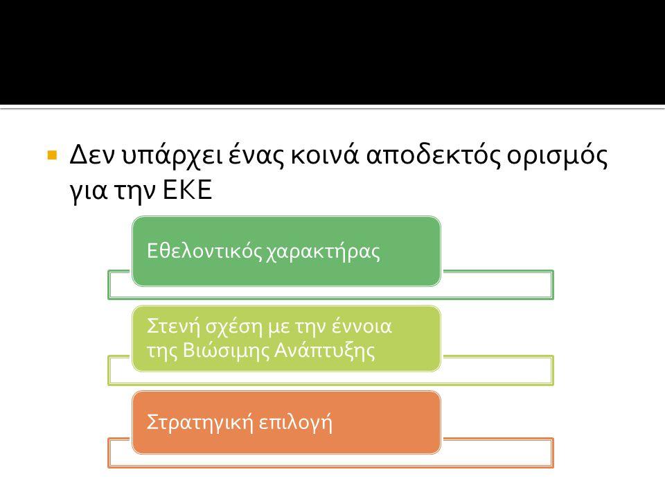  Δεν υπάρχει ένας κοινά αποδεκτός ορισμός για την ΕΚΕ Εθελοντικός χαρακτήρας Στενή σχέση με την έννοια της Βιώσιμης Ανάπτυξης Στρατηγική επιλογή