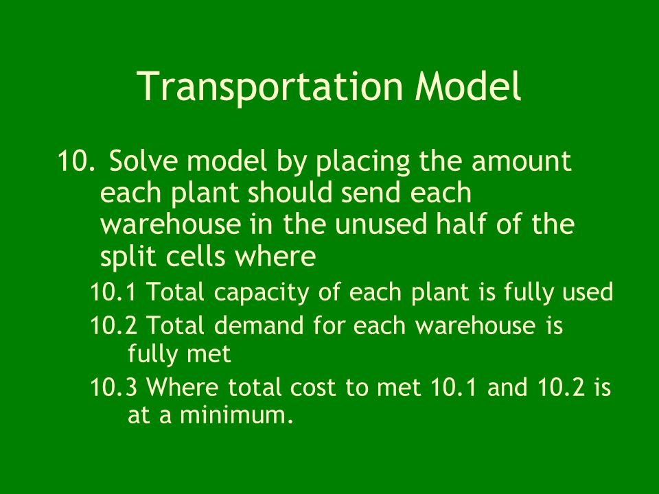 Transportation Model 8.Create a dummy warehouses if total capacity is greater than total demand. 8.1 Demand for the dummy warehouse should equal Total