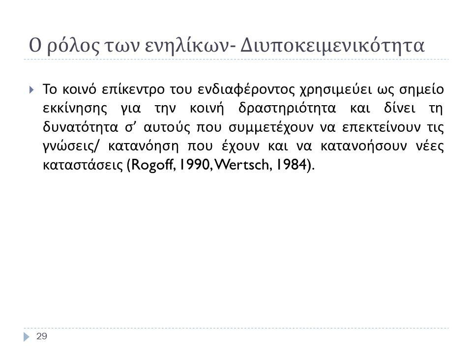 29 Ο ρόλος των ενηλίκων - Διυποκειμενικότητα 29  Το κοινό επίκεντρο του ενδιαφέροντος χρησιμεύει ως σημείο εκκίνησης για την κοινή δραστηριότητα και δίνει τη δυνατότητα σ ' αυτούς που συμμετέχουν να επεκτείνουν τις γνώσεις / κατανόηση που έχουν και να κατανοήσουν νέες καταστάσεις (Rogoff, 1990, Wertsch, 1984).