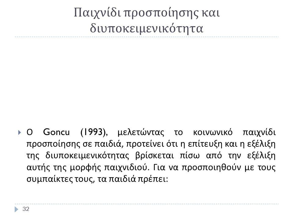32 Παιχνίδι προσποίησης και διυποκειμενικότητα 32  Ο Goncu (1993), μελετώντας το κοινωνικό παιχνίδι προσποίησης σε παιδιά, προτείνει ότι η επίτευξη και η εξέλιξη της διυποκειμενικότητας βρίσκεται πίσω από την εξέλιξη αυτής της μορφής παιχνιδιού.