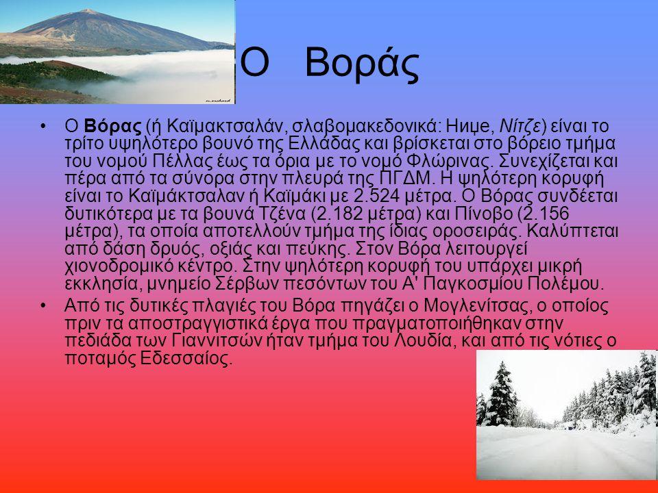 Ο Βοράς Ο Βόρας (ή Καϊμακτσαλάν, σλαβομακεδονικά: Ниџе, Νίτζε) είναι το τρίτο υψηλότερο βουνό της Ελλάδας και βρίσκεται στο βόρειο τμήμα του νομού Πέλ