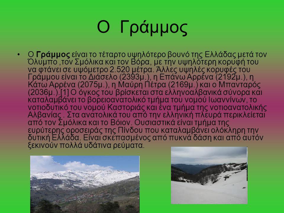 Ο Γράμμος Ο Γράμμος είναι το τέταρτο υψηλότερο βουνό της Ελλάδας μετά τον Όλυμπο,τον Σμόλικα και τον Βόρα, με την υψηλότερη κορυφή του να φτάνει σε υψ