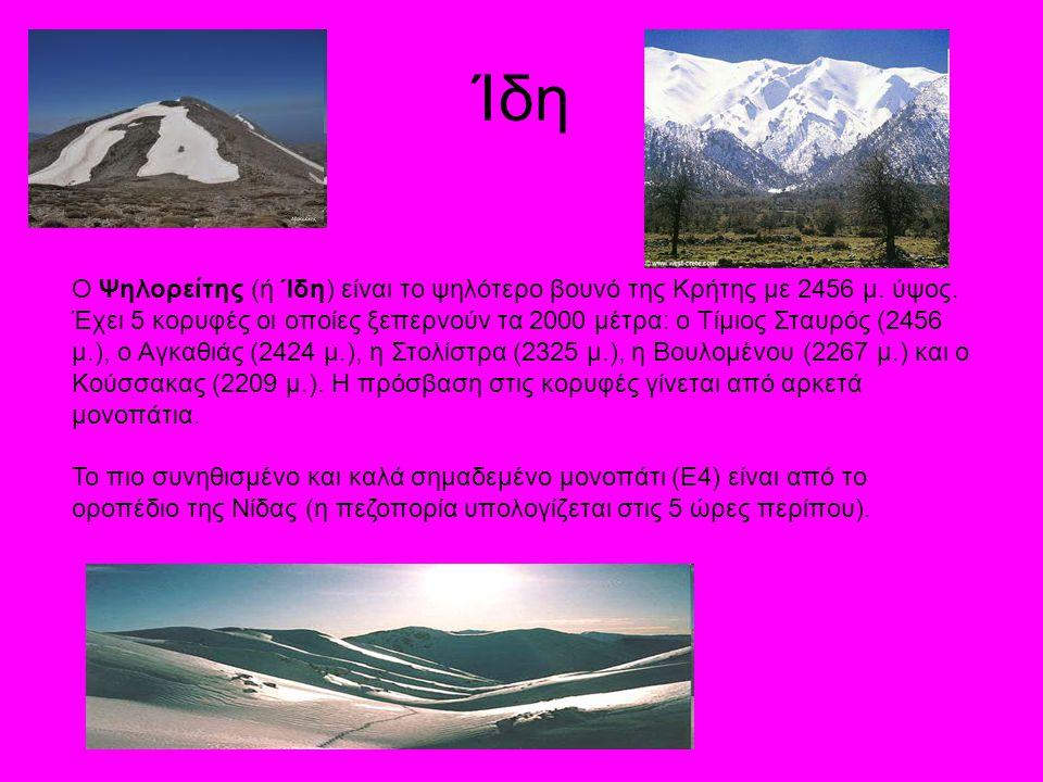 Ίδη Ο Ψηλορείτης (ή Ίδη) είναι το ψηλότερο βουνό της Κρήτης με 2456 μ. ύψος. Έχει 5 κορυφές οι οποίες ξεπερνούν τα 2000 μέτρα: ο Τίμιος Σταυρός (2456