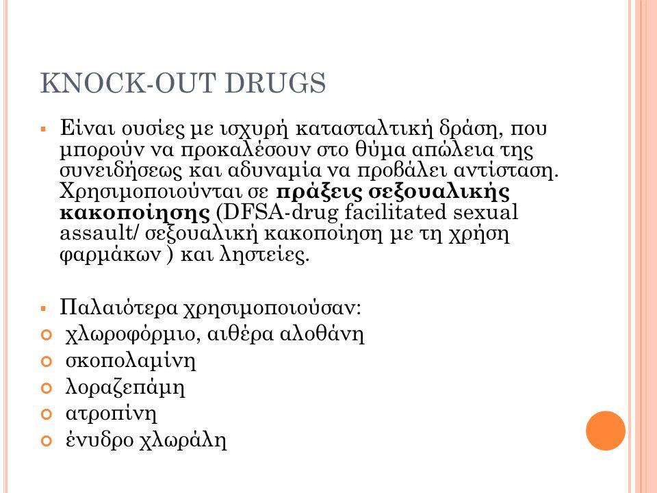 Π ΑΡΑΔΕΊΓΜΑΤΑ ΑΠΌ ΝΕΟΤΈΡΑ ΦΆΡΜΑΚΑ Βενζοδιαζεπίνες και κυρίως Flunitrazepam GHB Κεταμίνη Αλκοόλη Κάνναβις Κοκαϊνη LSD Αμφεταμίνες (κυρίως MDMA) Zοπικλόνη, ζολπιδέμη