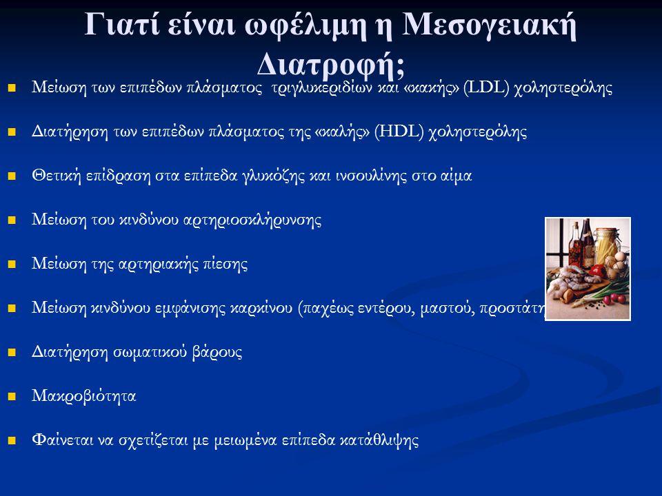 Γιατί είναι ωφέλιμη η Μεσογειακή Διατροφή; Μείωση των επιπέδων πλάσματος τριγλυκεριδίων και «κακής» (LDL) χοληστερόλης Διατήρηση των επιπέδων πλάσματος της «καλής» (HDL) χοληστερόλης Θετική επίδραση στα επίπεδα γλυκόζης και ινσουλίνης στο αίμα Μείωση του κινδύνου αρτηριοσκλήρυνσης Μείωση της αρτηριακής πίεσης Μείωση κινδύνου εμφάνισης καρκίνου (παχέως εντέρου, μαστού, προστάτη) Διατήρηση σωματικού βάρους Μακροβιότητα Φαίνεται να σχετίζεται με μειωμένα επίπεδα κατάθλιψης