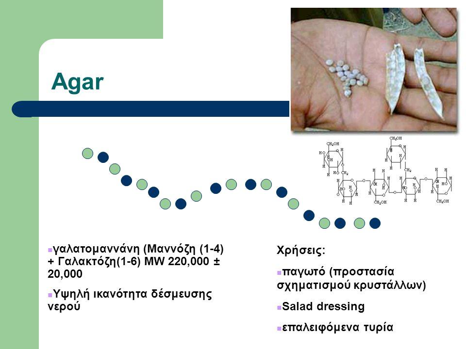 Agar γαλατομαννάνη (Μαννόζη (1-4) + Γαλακτόζη(1-6) MW 220,000 ± 20,000 Υψηλή ικανότητα δέσμευσης νερού Χρήσεις: παγωτό (προστασία σχηματισμού κρυστάλλων) Salad dressing επαλειφόμενα τυρία