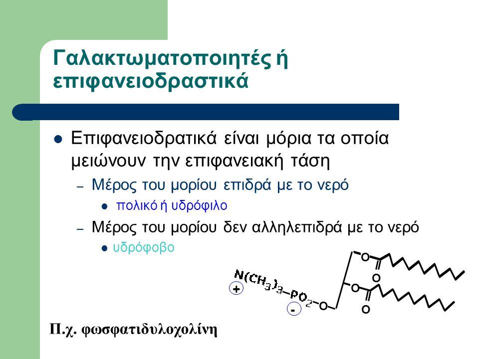 Γαλακτωματοποιητές ή επιφανειοδραστικά Επιφανειοδρατικά είναι μόρια τα οποία μειώνουν την επιφανειακή τάση – Μέρος του μορίου επιδρά με το νερό πολικό ή υδρόφιλο – Μέρος του μορίου δεν αλληλεπιδρά με το νερό υδρόφοβο Π.χ.