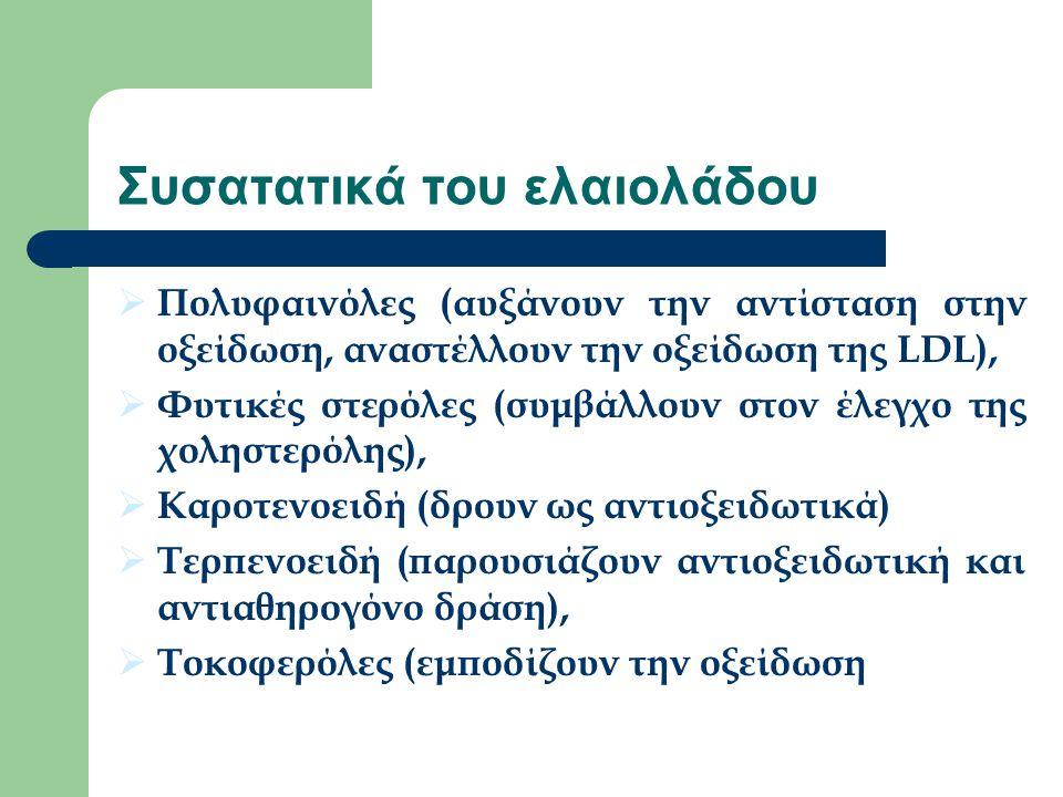 Συσατατικά του ελαιολάδου  Πολυφαινόλες (αυξάνουν την αντίσταση στην οξείδωση, αναστέλλουν την οξείδωση της LDL),  Φυτικές στερόλες (συμβάλλουν στον έλεγχο της χοληστερόλης),  Καροτενοειδή (δρουν ως αντιοξειδωτικά)  Τερπενοειδή (παρουσιάζουν αντιοξειδωτική και αντιαθηρογόνο δράση),  Τοκοφερόλες (εμποδίζουν την οξείδωση)