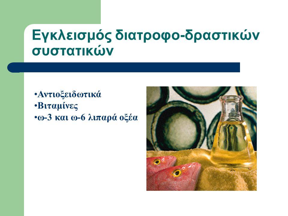 Εγκλεισμός διατροφο-δραστικών συστατικών Αντιοξειδωτικά Βιταμίνες ω-3 και ω-6 λιπαρά οξέα