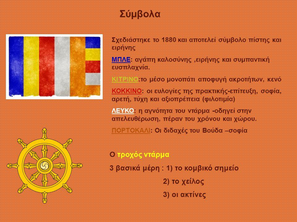 ΕΝΟΤΗΤΑ 3  η δοξολογική αναφώνηση (ώου ώου)  η τριπλή καταφυγή στα τρία πολυτιμότερα πράγματα: Καταφεύγω στη μοναχική αδελφότητα- Σάνγκα Καταφεύγω στη διδασκαλία του Βούδα - Ντάρμα Καταφεύγω στο Βούδα  η εξύμνηση των τριών πολύτιμων λίθων Βούδας- Ντάρμα- Σάνγκα  Η υπόσχεση τήρησης των 5 επιταγών  ηΑίτηση συγνώμης από Βούδα, Ντάρμα, Σάνγκα  ηΠροσφορές, λουλούδια, καντήλια, κεριά, τροφές, ποτά  ηπερισυλλογή, αυτοβυθισμός, αταραξία, γαλήνη  ηΚηρύγματα – αξιομισθία η παρακολούθηση 1) Όταν πέθανε ο Βούδας, το σώμα του διαμοιράσθηκε σε οκτώ μέρη και διανεμήθηκε σε διάφορες περιοχές.