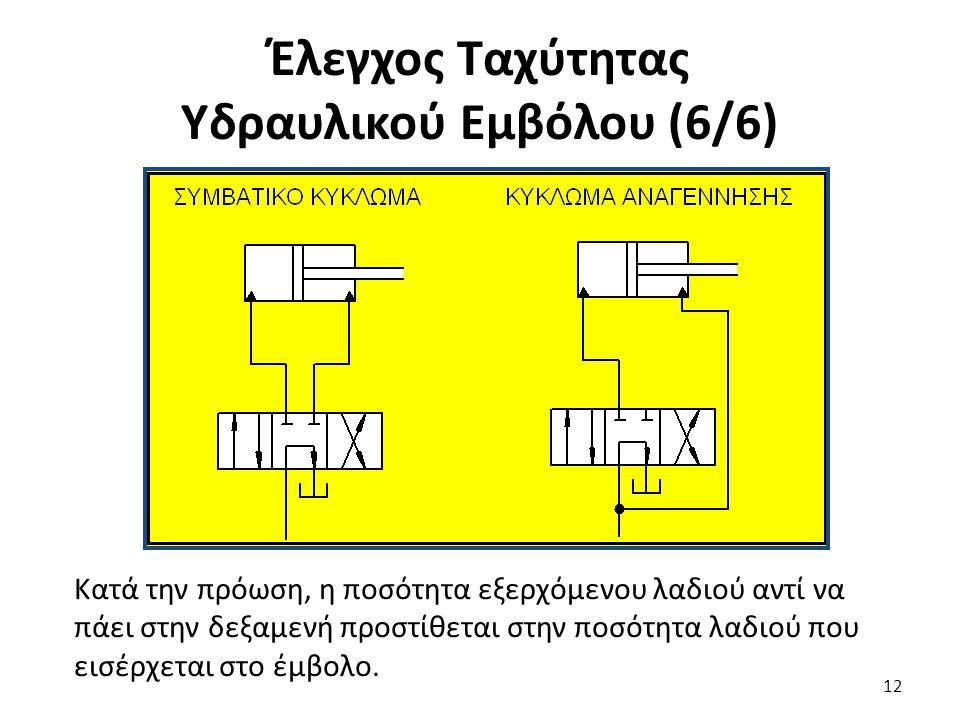 12 Έλεγχος Ταχύτητας Υδραυλικού Εμβόλου (6/6) Κατά την πρόωση, η ποσότητα εξερχόμενου λαδιού αντί να πάει στην δεξαμενή προστίθεται στην ποσότητα λαδιού που εισέρχεται στο έμβολο.