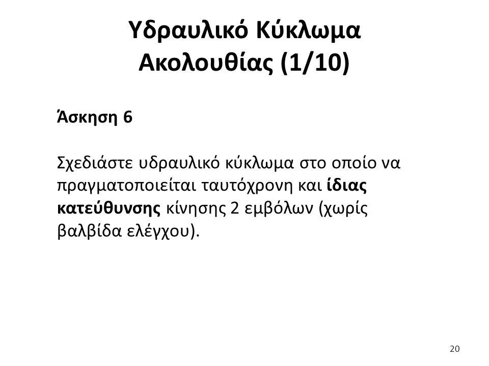 20 Υδραυλικό Κύκλωμα Ακολουθίας (1/10) Άσκηση 6 Σχεδιάστε υδραυλικό κύκλωμα στο οποίο να πραγματοποιείται ταυτόχρονη και ίδιας κατεύθυνσης κίνησης 2 εμβόλων (χωρίς βαλβίδα ελέγχου).