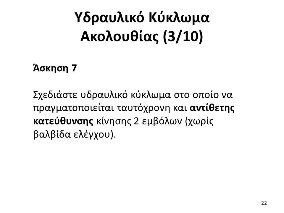 22 Υδραυλικό Κύκλωμα Ακολουθίας (3/10) Άσκηση 7 Σχεδιάστε υδραυλικό κύκλωμα στο οποίο να πραγματοποιείται ταυτόχρονη και αντίθετης κατεύθυνσης κίνησης 2 εμβόλων (χωρίς βαλβίδα ελέγχου).