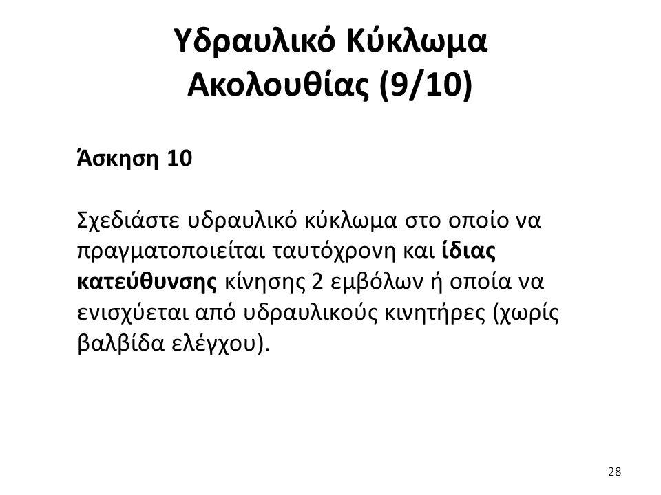 28 Υδραυλικό Κύκλωμα Ακολουθίας (9/10) Άσκηση 10 Σχεδιάστε υδραυλικό κύκλωμα στο οποίο να πραγματοποιείται ταυτόχρονη και ίδιας κατεύθυνσης κίνησης 2 εμβόλων ή οποία να ενισχύεται από υδραυλικούς κινητήρες (χωρίς βαλβίδα ελέγχου).