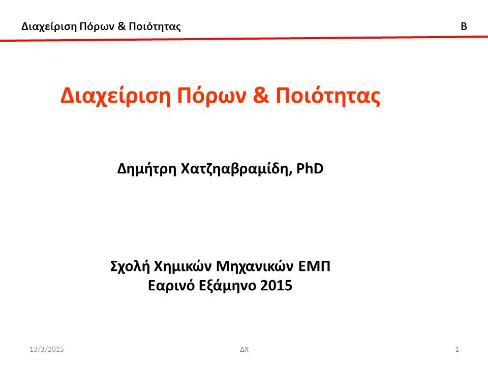 Διαχείριση Πόρων & Ποιότητας B 13/3/2015ΔΧ72 Ανάλυση Σχεδιασμός Πειραμάτων (Design Of Experiments) – 2 k Παραγοντικό Σχέδιο Παράδειγμα ΑN(alysis) O(f) VA(riance) Πηγή ΆθροισμαΒαθμοί Μεταβλητότητας Τετραγώνων Ελευθερίας Μεσο Τετράγωνο F 0 Ρ-τιμή Μέγεθος τρυπανιού(A) 1107.2261 1107.226 185.251.17x10 -8 Ταχύτητα (Β) 227.2561 227.256 38.034.82 x10 -5 ΑΒ 303.6311 303.631 50.801.20x10 -5 Σφάλμα 71.72312 5.977 Ολικό 1709.83615 Η ΑNOVA επιβεβαιώνει τα συμπεράσματά μας που αποκτήθηκαν με την εξέταση του μεγέθους και τη διεύθυνση των επιδράσεων των παραγόντων.