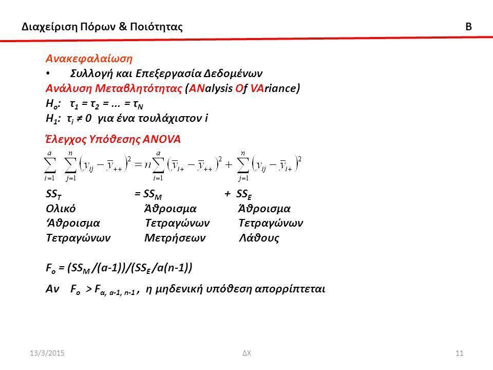 Διαχείριση Πόρων & Ποιότητας B 13/3/2015ΔΧ11 Ανακεφαλαίωση Συλλογή και Επεξεργασία Δεδομένων Ανάλυση Μεταβλητότητας (ΑNalysis Of VAriance) Η ο : τ 1 = τ 2 =...