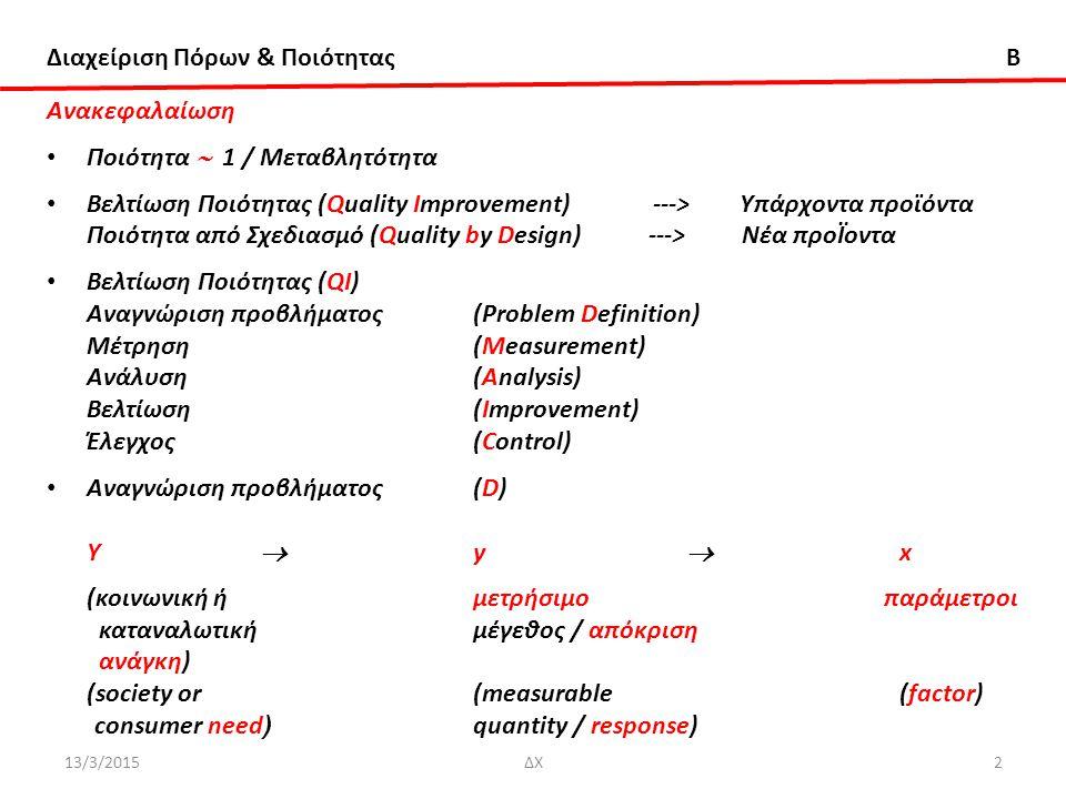 Διαχείριση Πόρων & Ποιότητας B 13/3/2015ΔΧ2 Ανακεφαλαίωση Ποιότητα  1 / Μεταβλητότητα Βελτίωση Ποιότητας (Quality Improvement) ---> Υπάρχοντα προϊόντα Ποιότητα από Σχεδιασμό (Quality by Design) ---> Νέα προΪοντα Βελτίωση Ποιότητας (QI) Αναγνώριση προβλήματος(Problem Definition) Μέτρηση(Measurement) Ανάλυση(Analysis) Βελτίωση(Improvement) Έλεγχος(Control) Αναγνώριση προβλήματος(D) Υ  y  x (κοινωνική ήμετρήσιμο παράμετροι καταναλωτικήμέγεθος / απόκριση ανάγκη) (society or (measurable(factor) consumer need ) quantity / response)