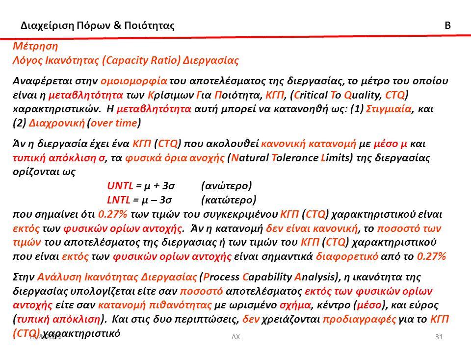 Διαχείριση Πόρων & Ποιότητας B 13/3/2015ΔΧ3110-4-2009ΔΧ31 Μέτρηση Λόγος Ικανότητας (Capacity Ratio) Διεργασίας Αναφέρεται στην ομοιομορφία του αποτελέσματος της διεργασίας, το μέτρο του οποίου είναι η μεταβλητότητα των Κρίσιμων Για Ποιότητα, ΚΓΠ, (Critical To Quality, CTQ) xαρακτηριστικών.