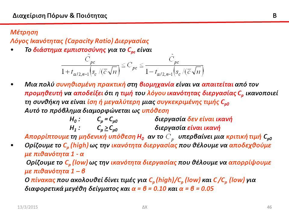 Διαχείριση Πόρων & Ποιότητας B 13/3/2015ΔΧ46ΔΧ46 Μέτρηση Λόγος Ικανότητας (Capacity Ratio) Διεργασίας Το διάστημα εμπιστοσύνης για το C pc είναι Μια πολύ συνηθισμένη πρακτική στη βιομηχανία είναι να απαιτείται από τον προμηθευτή να αποδείξει ότι η τιμή του λόγου ικανότητας διεργασίας C p ικανοποιεί τη συνθήκη να είναι ίση ή μεγαλύτερη μιας συγκεκριμένης τιμής C p0 Αυτό το πρόβλημα διαμορφώνεται ως υπόθεση Η 0 :C p = C p0 διεργασία δεν είναι ικανή Η 1 :C p > C p0 διεργασία είναι ικανή Απορρίπτουμε τη μηδενική υπόθεση Η 0 αν το υπερβαίνει μια κριτική τιμή C p0 Ορίζουμε το C p (high) ως την ικανότητα διεργασίας που θέλουμε να αποδεχθούμε με πιθανότητα 1 - α Ορίζουμε το C p (low) ως την ικανότητα διεργασίας που θέλουμε να απορρίψουμε με πιθανότητα 1 – β Ο πίνακας που ακολουθεί δίνει τιμές για C p (high)/C p (low) και C /C p (low) για διαφορετικά μεγέθη δείγματος και α = β = 0.10 και α = β = 0.05