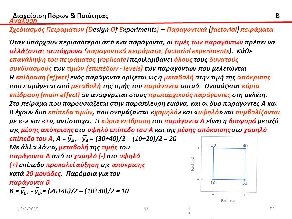 Διαχείριση Πόρων & Ποιότητας B 13/3/2015ΔΧ55 Ανάλυση Σχεδιασμός Πειραμάτων (Design Of Experiments) – Παραγοντικά (factorial) πειράματα Όταν υπάρχουν περισσότεροι από ένα παράγοντα, οι τιμές των παραγόντων πρέπει να αλλάζονται ταυτόχρονα (παραγοντικά πειράματα, factorial experiments).