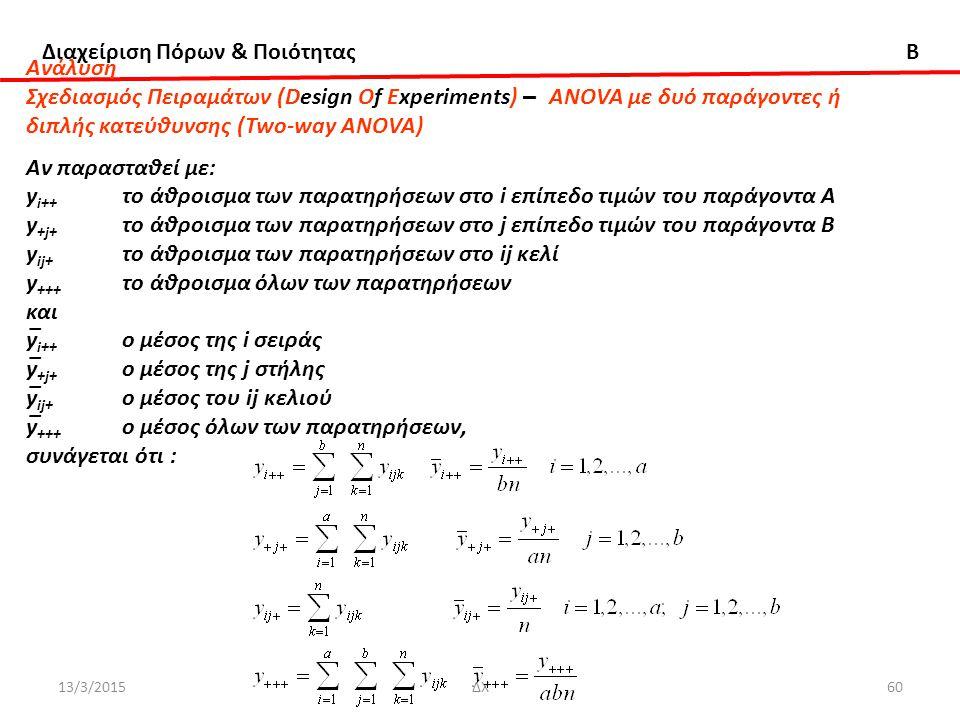 Διαχείριση Πόρων & Ποιότητας B 13/3/2015ΔΧ60 Ανάλυση Σχεδιασμός Πειραμάτων (Design Of Experiments) – ANOVA με δυό παράγοντες ή διπλής κατεύθυνσης (Two-way ANOVA) Αν παρασταθεί με: y i++ το άθροισμα των παρατηρήσεων στο i επίπεδο τιμών του παράγοντα Α y +j+ το άθροισμα των παρατηρήσεων στο j επίπεδο τιμών του παράγοντα B y ij+ το άθροισμα των παρατηρήσεων στο ij κελί y +++ το άθροισμα όλων των παρατηρήσεων και y̅ i++ ο μέσος της i σειράς y̅ +j+ ο μέσος της j στήλης y̅ ij+ ο μέσος του ij κελιού y̅ +++ ο μέσος όλων των παρατηρήσεων, συνάγεται ότι :